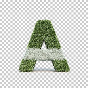 3d rendering of grass playing field alphabet a