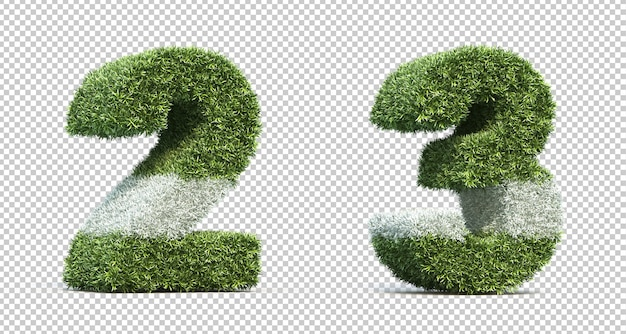 3d rendering of grass playing field number 2 and number 3