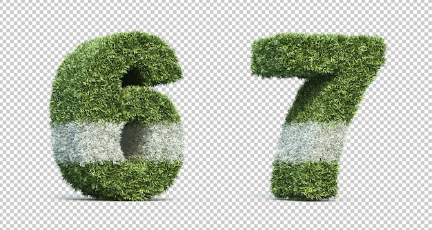 3d rendering of grass playing field number 6 and number 7
