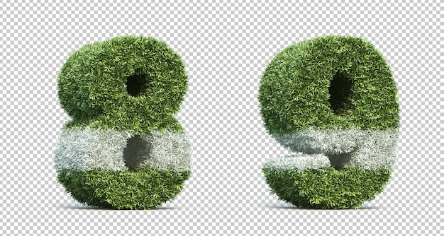 3d rendering of grass playing field number 8 and number 9