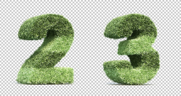 3d rendering of grass playing field numbers