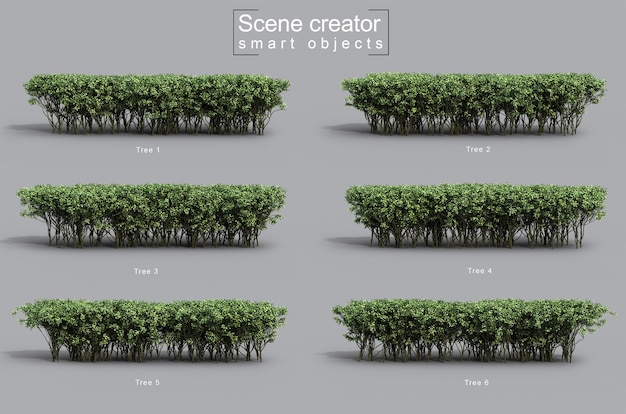 3d rendering of green bushes scene creator