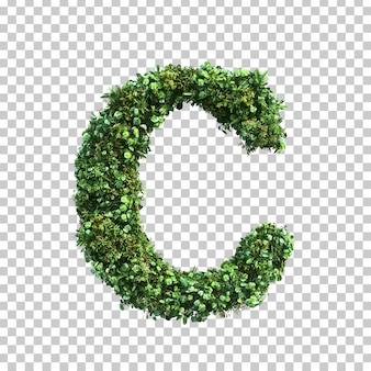 3d rendering of green plants alphabet c