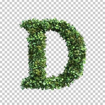 3d rendering of green plants alphabet d