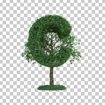3d rendering of green tree alphabet c