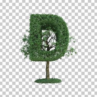 3d rendering of green tree alphabet d