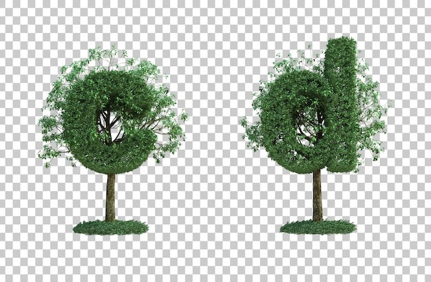 3d rendering of green tree letter c and letter d