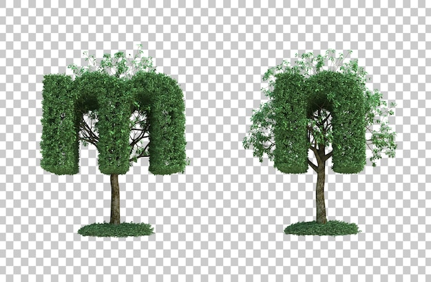 3d rendering of green tree letter m and letter n