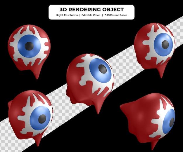 血でハロウィーンの眼球をレンダリングする3dは5つの異なるポーズのアイコンイラストを使用します