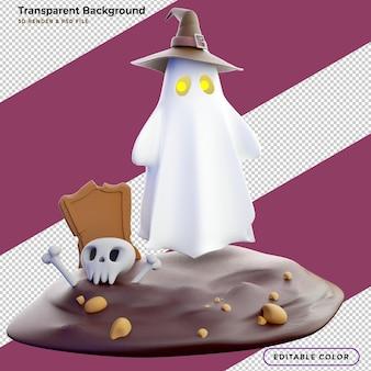 3d-рендеринг хэллоуин с призраком и могилой