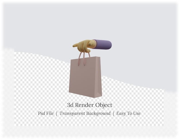 3d rendering of hand holding shopping bags