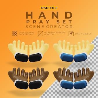 3d rendering of hand pray set for scene creator