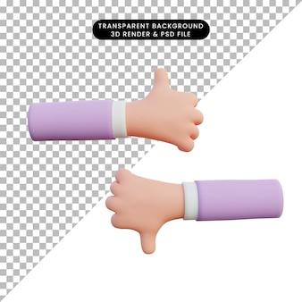 3d rendering hand thumbs up and down