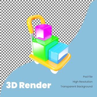 3d-рендеринг ручной тележки, несущей значок коробки для электронной коммерции