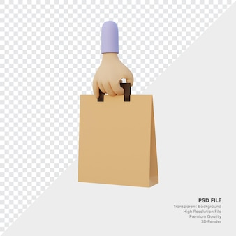 쇼핑 가방과 함께 3d 렌더링 손 프리미엄 PSD 파일