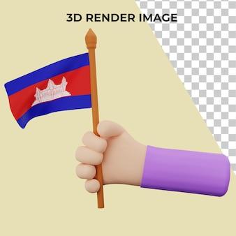 カンボジア建国記念日コンセプトの3dレンダリングの手