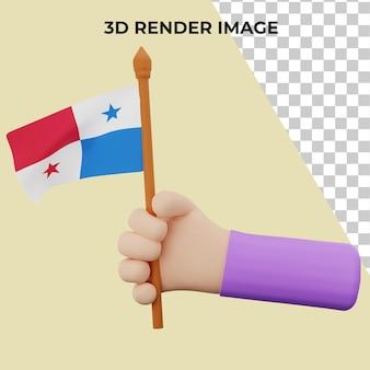 파나마 국경일 개념으로 3d 렌더링 손