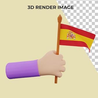 스페인 국경일 개념으로 3d 렌더링 손