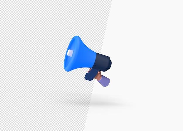 3d-рендеринг руки, держащие мегафон или концепцию ручного динамика