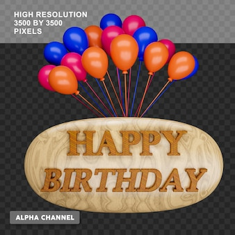 3d rendering happy birthday text with balloon