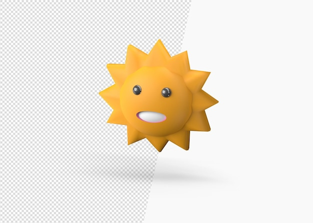 3d 렌더링 행복 태양 판지 모델