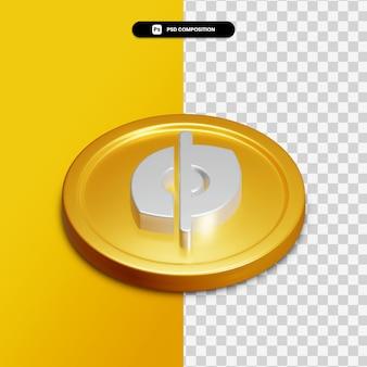 分離された金色の円の3dレンダリング非表示アイコン