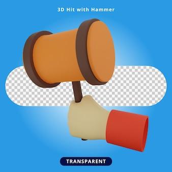 3d rendering hit hammer illustration