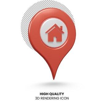 Значок местоположения домашнего адреса 3d рендеринга