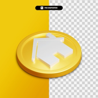 3d rendering home icon on golden circle isolated