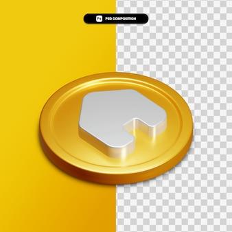 分離された黄金の円の3dレンダリングホームアイコン