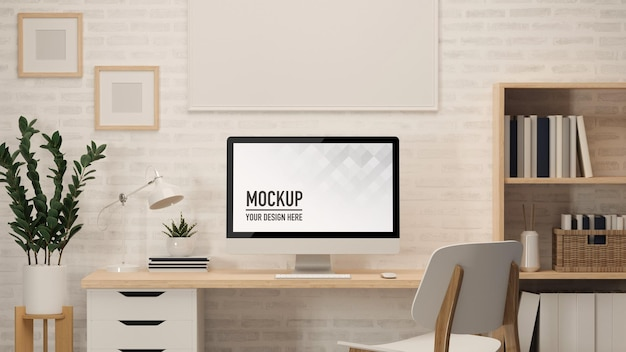 3d rendering of home office desk with computer
