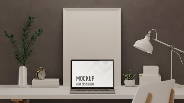 3d rendering home office room with laptop mock up frame decorations Premium Psd