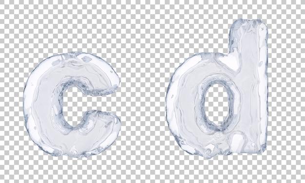 3d rendering of ice alphabet c and alphabet d