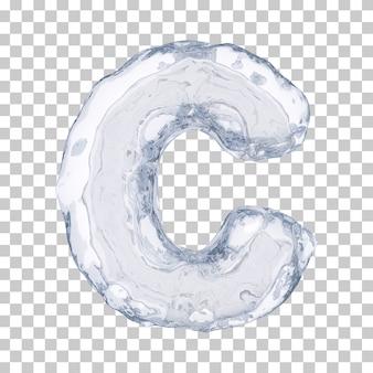 3d rendering of ice alphabet c