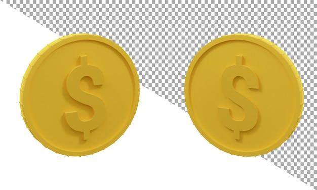 3d рендеринг значок монеты доллар