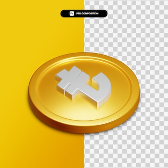 3d rendering icon on golden circle isolated