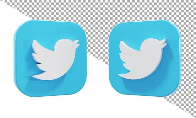 3d 렌더링 아이콘 로고 트위터 아이소메트릭