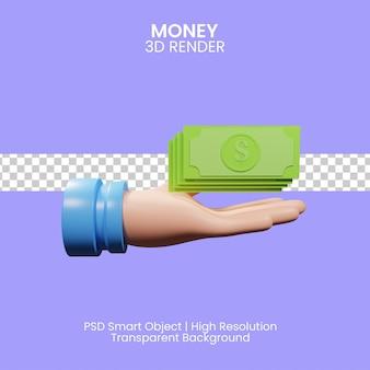 Значок 3d-рендеринга бизнесменов, держащих денежную купюру