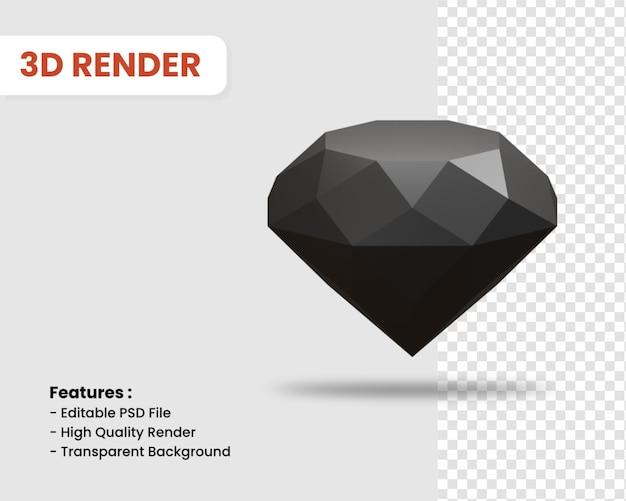다이아몬드 격리 된 어두운 색상의 3d 렌더링 아이콘