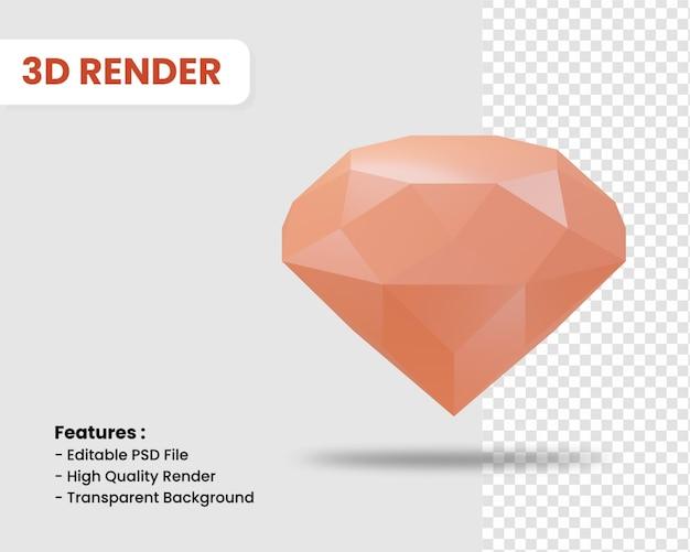 고립 된 다이아몬드의 3d 렌더링 아이콘