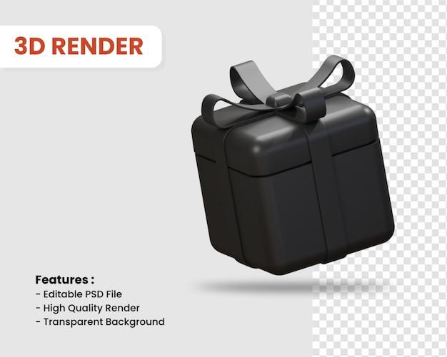 선물 상자 격리 된 어두운 색의 3d 렌더링 아이콘