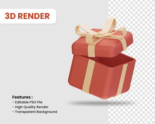 고립 된 선물 상자의 3d 렌더링 아이콘