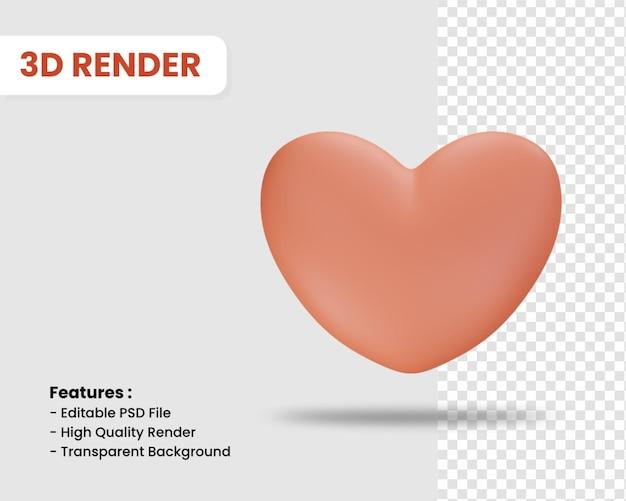 고립 된 심장의 3d 렌더링 아이콘