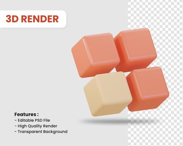고립 된 여러 큐브의 3d 렌더링 아이콘