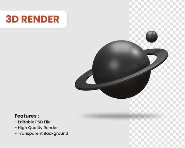 행성 고립 된 어두운 색의 3d 렌더링 아이콘