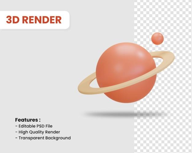 고립 된 행성의 3d 렌더링 아이콘
