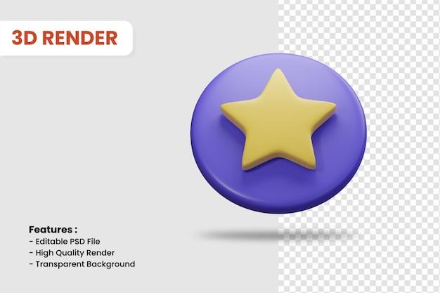 Значок 3d-рендеринга звездного значка изолированы. полезно для иллюстрации дизайна веб-сайта или мобильного приложения.