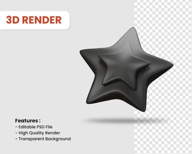 스타 격리 된 어두운 색상의 3d 렌더링 아이콘