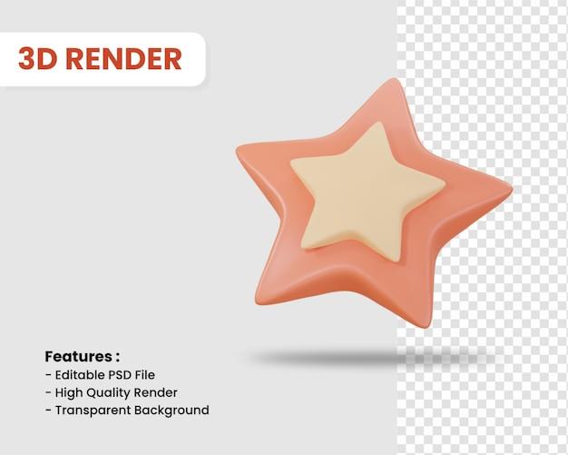 고립 된 스타의 3d 렌더링 아이콘