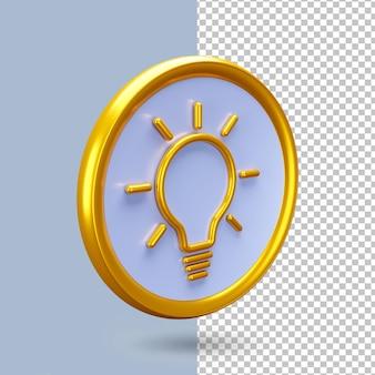 光のアイコンで3dレンダリングのアイデアと創造性の概念